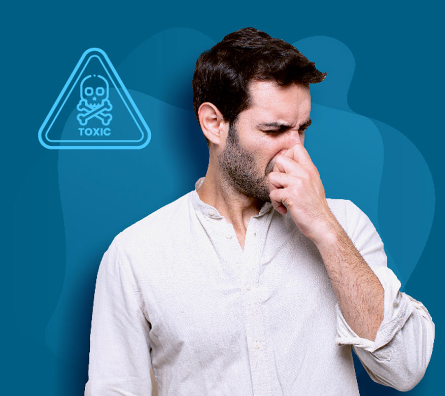 man holding his nose with a toxic icon