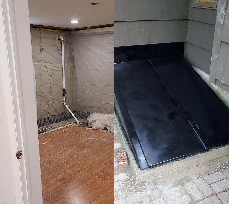 interior basement and exterior basement door